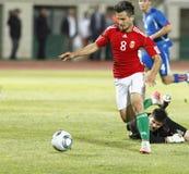 La Hongrie contre des parties de football de l'Islande Photos stock