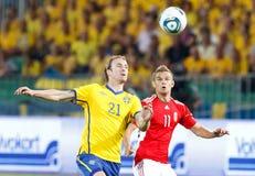 La Hongrie contre des parties de football de la Suède Photos stock