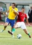 La Hongrie contre des parties de football de la Suède Photographie stock libre de droits