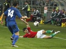 La Hongrie contre l'euro de l'UEFA de Moldau 2012 jeux de qualification Image stock