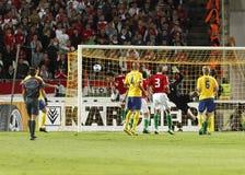 La Hongrie contre la Suède, qualificatif de coupe du monde de la FIFA Photographie stock libre de droits