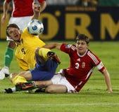La Hongrie contre la Suède, qualificatif de coupe du monde de la FIFA Images libres de droits