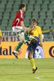 La Hongrie contre la Suède, qualificatif de coupe du monde de la FIFA Photo stock