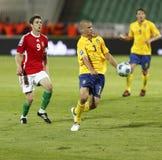 La Hongrie contre la Suède, qualificatif de coupe du monde de la FIFA Photos libres de droits