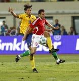 La Hongrie contre la Suède, qualificatif de coupe du monde de la FIFA Images stock