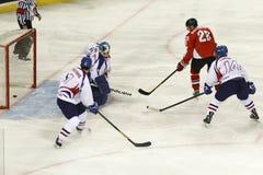La Hongrie contre le match de hockey sur glace de championnat du monde de la Corée IIHF Photos libres de droits