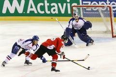 La Hongrie contre le match de hockey sur glace de championnat du monde de la Corée IIHF Photo libre de droits
