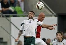 La Hongrie contre les Hollandes Le football 2016 de qualificateur d'euro de l'UEFA de l'Irlande du Nord m Images libres de droits