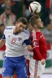 La Hongrie contre les Hollandes Matc 2016 du football de qualificateur d'euro de l'UEFA des Iles Féroé Photo stock