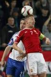 La Hongrie contre les Hollandes Matc 2016 du football de qualificateur d'euro de l'UEFA des Iles Féroé Image libre de droits