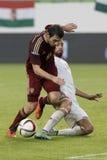 La Hongrie contre les Hollandes Match de football amical de la Russie Images stock