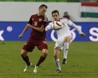 La Hongrie contre les Hollandes Match de football amical de la Russie Images libres de droits