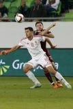 La Hongrie contre les Hollandes Match de football amical de la Russie Image stock