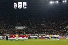 La Hongrie contre les Hollandes Match de football 2016 de barrage de qualificateur d'euro de l'UEFA de la Norvège Photographie stock libre de droits