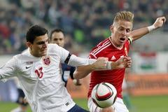 La Hongrie contre les Hollandes Match de football 2016 de barrage de qualificateur d'euro de l'UEFA de la Norvège Photos stock