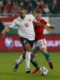 La Hongrie contre les Hollandes Match de football 2016 de barrage de qualificateur d'euro de l'UEFA de la Norvège Images stock