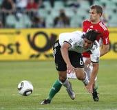 La Hongrie contre les parties de football amicales de l'Allemagne Image libre de droits