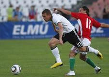 La Hongrie contre les parties de football amicales de l'Allemagne Photo stock