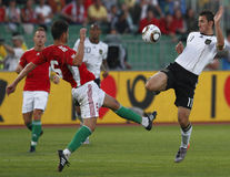 La Hongrie contre les parties de football amicales de l'Allemagne Photos libres de droits