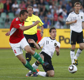 La Hongrie contre les parties de football amicales de l'Allemagne Images stock