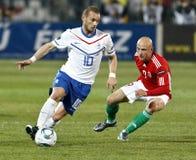 La Hongrie contre les parties de football néerlandaises images stock