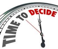 La hora de decidir al reloj elige la mejor oportunidad de la opción ilustración del vector