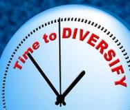 La hora de diversificar indica en el momento y actualmente Fotos de archivo libres de regalías