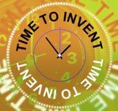 La hora de inventar innovaciones de los medios hace y las invenciones Foto de archivo