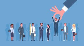 La hora escoge hombres de negocios del candidato de Of Group Of del hombre de negocios del concepto a dedo del reclutamiento ilustración del vector