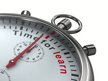 La hora para aprende Cronómetro en el fondo blanco Imágenes de archivo libres de regalías