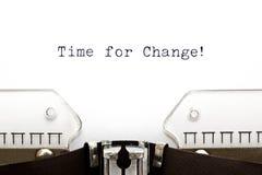 Tiempo de la máquina de escribir para el cambio Fotografía de archivo libre de regalías