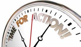 La hora para la acción ahora toma el reloj del acto del control ilustración del vector