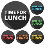La hora para los iconos del almuerzo fijó con la sombra larga Fotografía de archivo libre de regalías