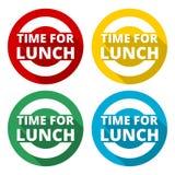 La hora para los iconos del almuerzo fijó con la sombra larga Fotos de archivo libres de regalías