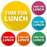 La hora para los iconos del almuerzo fijó con la sombra larga Fotos de archivo