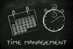 La hora y la gestión del proyecto para el negocio global, hacen calendarios Fotos de archivo libres de regalías