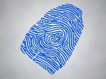 La huella dactilar conceptual y el código simbolizan tecnología foto de archivo