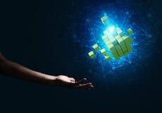 La idea de nuevas tecnologías y la integración presentaron por la figura del cubo Imágenes de archivo libres de regalías