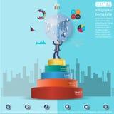 La idea y el concepto modernos del mundo de Level Success del hombre de negocios Vector la plantilla de Infographic del ejemplo c Imagenes de archivo