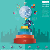 La idea y el concepto modernos del mundo de Level Success del hombre de negocios Vector la plantilla de Infographic del ejemplo c Fotos de archivo libres de regalías