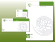 La identidad corporativa fijó - verde/gris de la flor de loto libre illustration