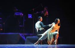 La identidad que se sienta- de la señora del drama de la danza del misterio-tango Fotografía de archivo libre de regalías