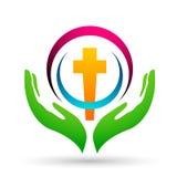 La iglesia de la ciudad ahorra el icono del diseño del logotipo del amor del cuidado de la unión de la gente en el fondo blanco libre illustration