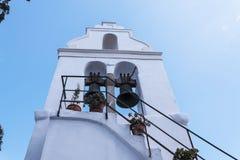 La iglesia de Panagia Vlacherna en la isla griega de Corfú Foto de archivo