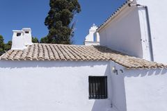 La iglesia de Panagia Vlacherna en la isla griega de Corfú Foto de archivo libre de regalías