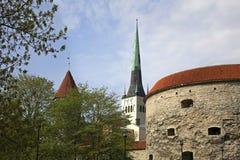 La iglesia de St Olaf y Margaret gorda se eleva en Tallinn Estonia Fotografía de archivo