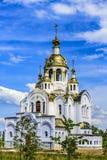 La iglesia de todos los santos en la tierra de Rusia brilló ortodoxia Ciudad Stupino, región de Moscú Rusia foto de archivo libre de regalías