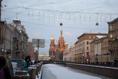 La iglesia del salvador en sangre derramada en St Petersburg, Rusia Imagenes de archivo