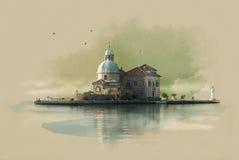 La iglesia en la isla (Gospa OD Skrpjela) en Perast, Montenegro Bosquejo de la acuarela Sepia Imagen de archivo