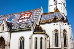 La iglesia histórica icónica de St Mark en Zagreb foto de archivo